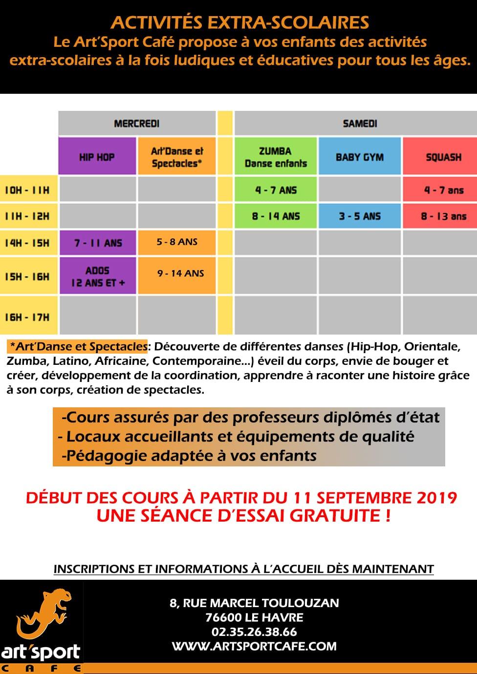 Activités Extra-Scolaires Du Art'sport Café Pour Les Enfants pour Activité Pour Enfant De 5 Ans