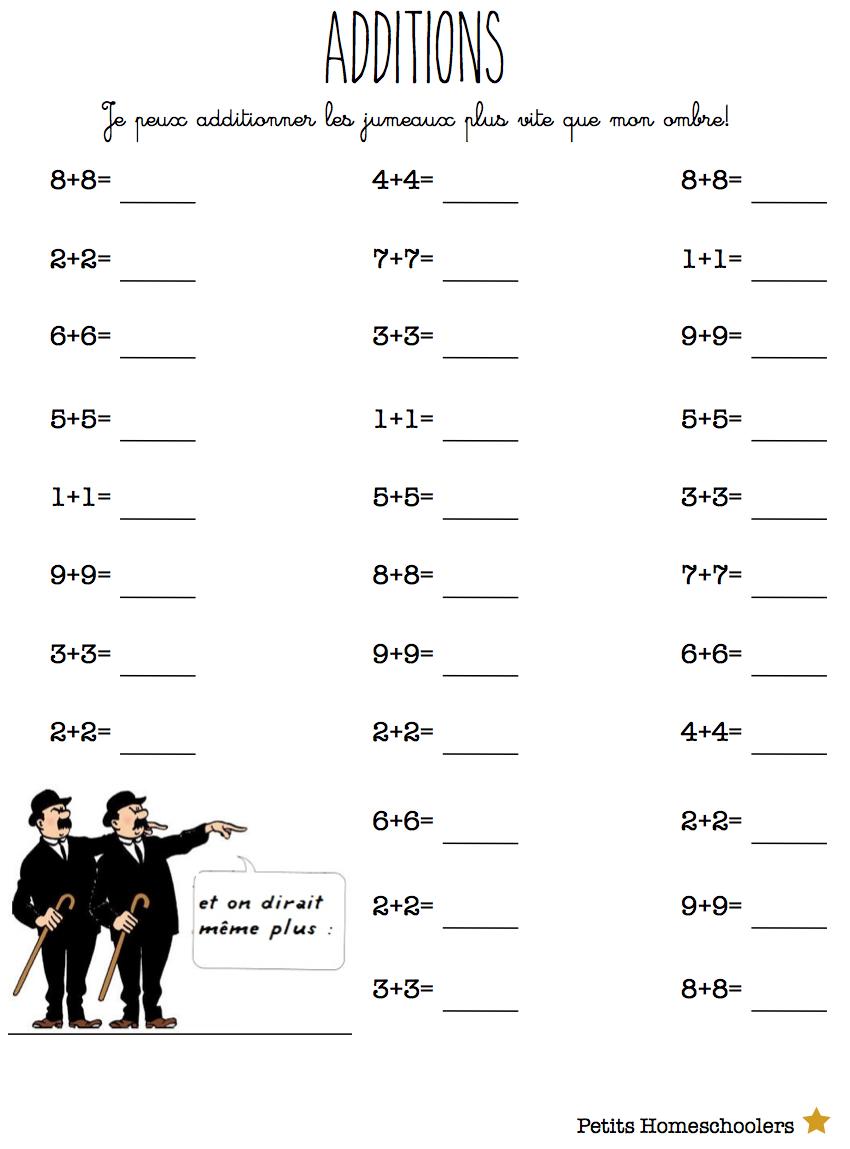 Additionner Les Doubles   Exercices Mathématiques, Exercice concernant Travaille De Ce1 A Imprimer Gratuit