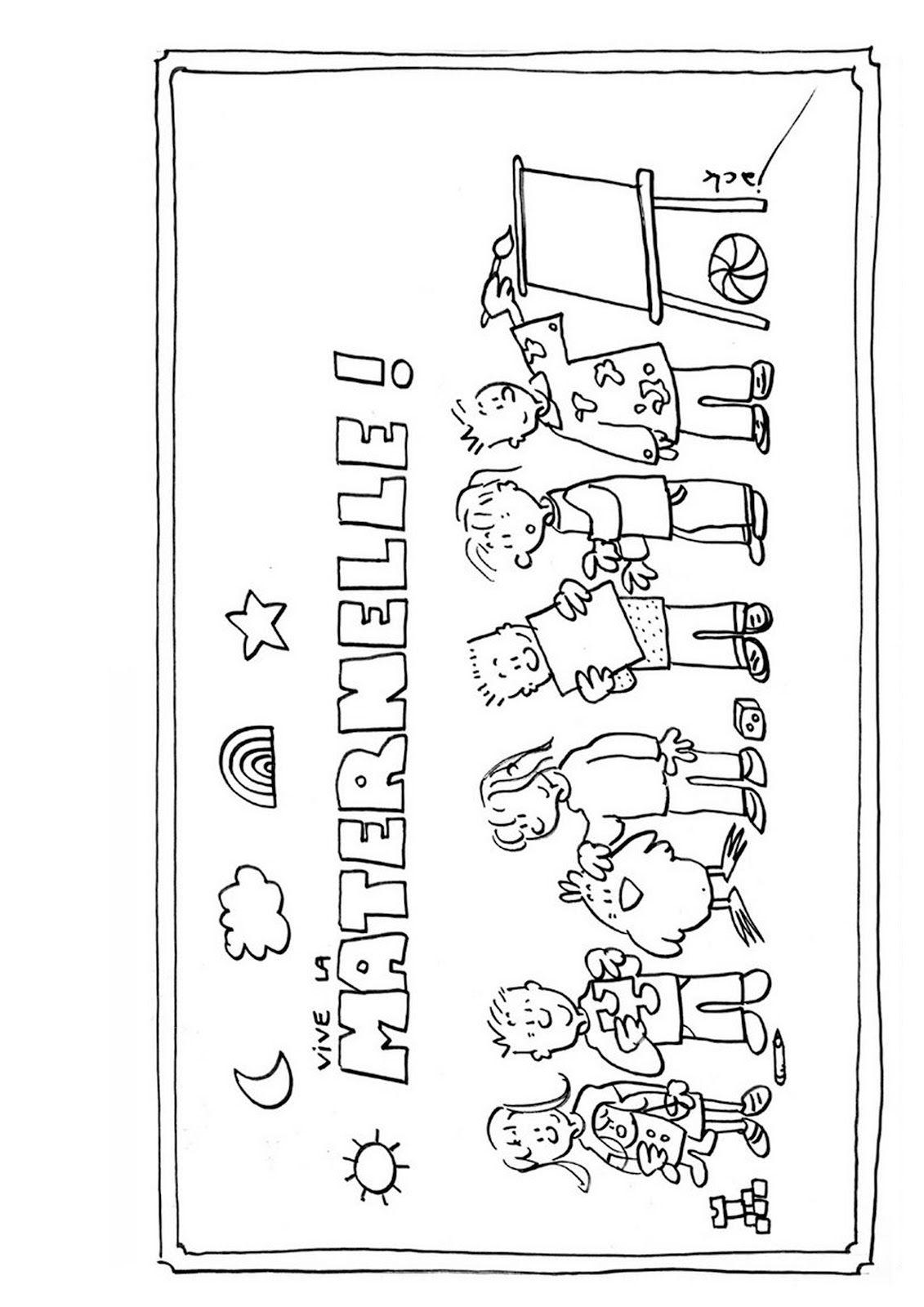Affichages Utiles En Vrac   Coloriage Rentrée dedans Coloriage Classe Maternelle