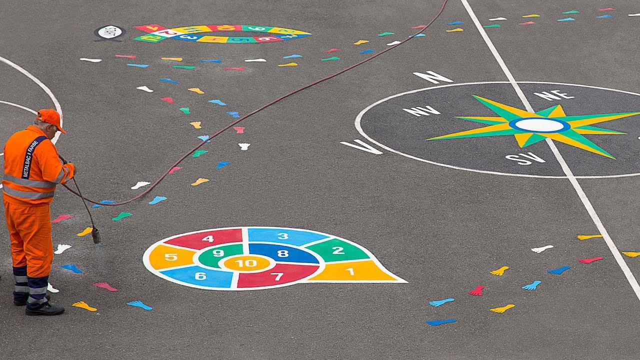 Aire De Jeux Pour Enfants, Jeux Educatifs, Jeux D'École - Marquage Au Sol  Thermocollé Préfabriqué encequiconcerne Jeux Interactifs Primaire