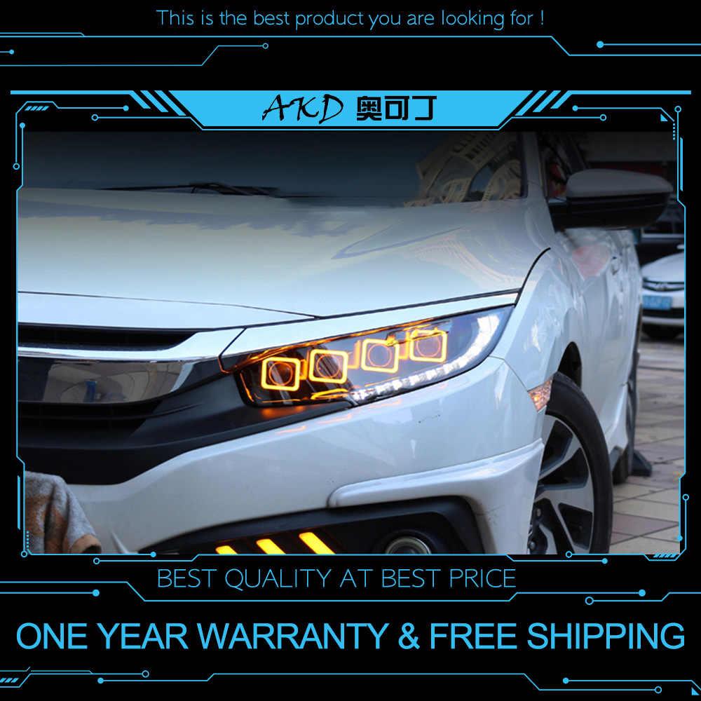 Akd Tuning Araba Far Için Honda Civic X G10 Bugatti Farlar Led Drl Işıkları  Bi-Xenon Işın Sis Işıkları Melek Gözler à Mot Mele Français Gratuit