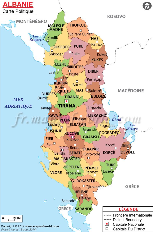 Albanie Carte serapportantà Carte Du Monde Avec Continent