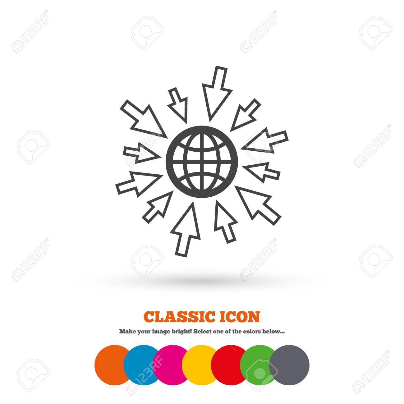 Aller À L'icône Web. Globe Avec Le Signe Du Curseur De La Souris. Symbole  D'accès Internet. Icône Plate Classique. Cercles Colorés concernant La Souris Du Web
