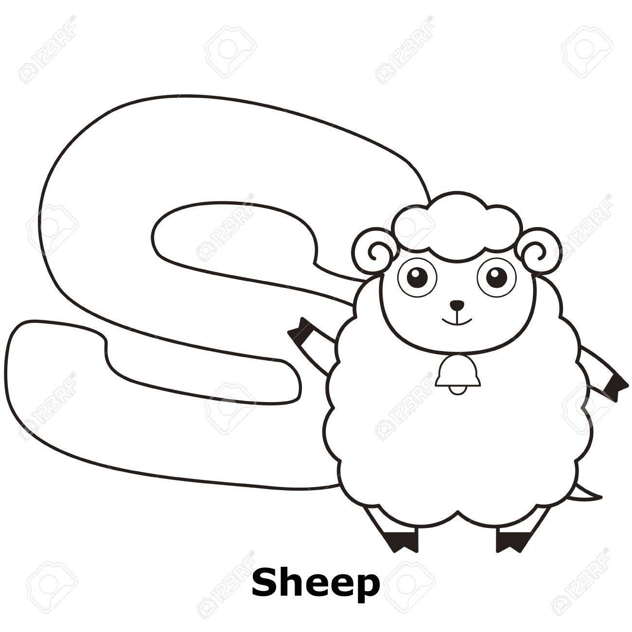 Alphabet À Colorier Pour Enfants, S Avec Des Moutons. tout Mouton À Colorier