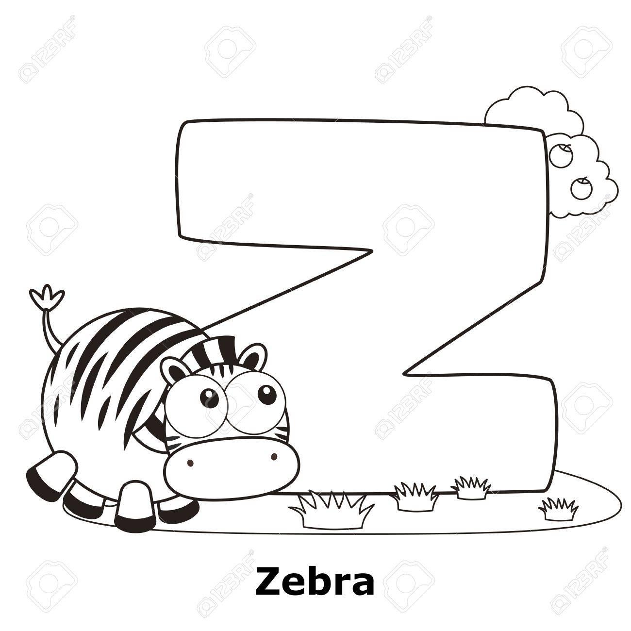 Alphabet À Colorier Pour Enfants, Z Avec Le Zèbre. encequiconcerne Alphabet À Colorier Maternelle