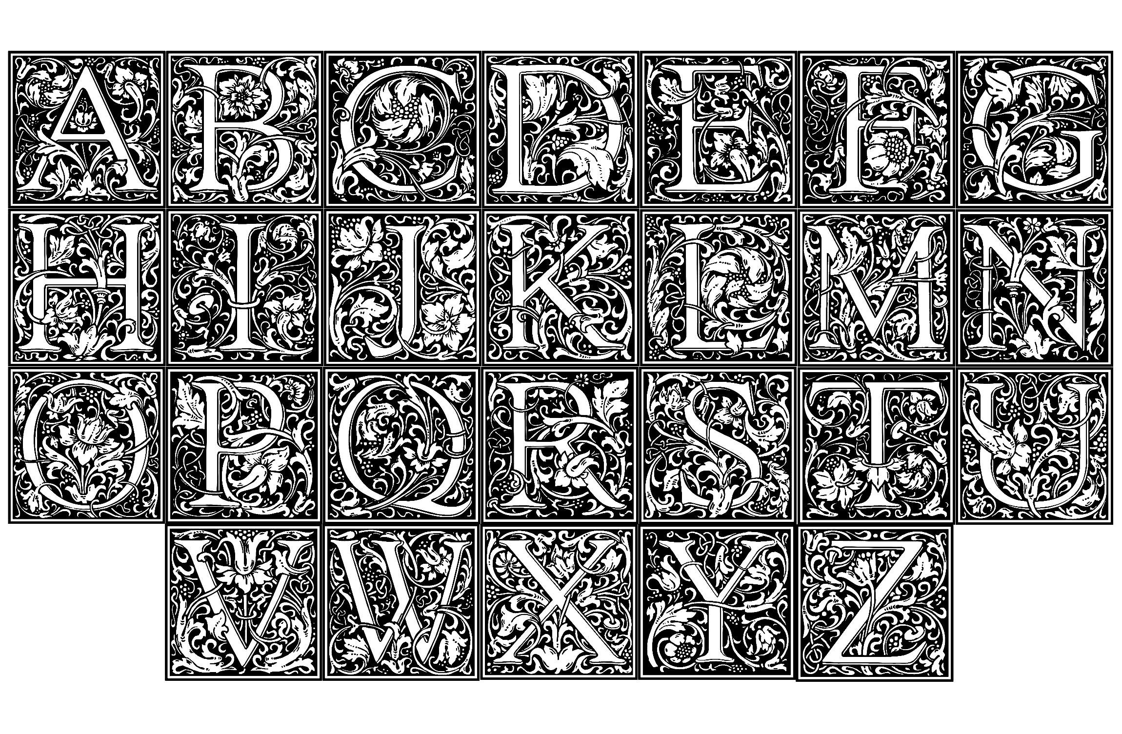 Alphabet William Morris - Anti-Stress & Art-Thérapie serapportantà Coloriage Alphabet Complet A Imprimer