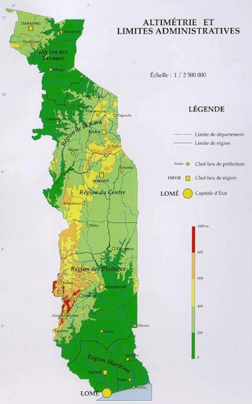 Altimétrie Et Découpage Administratif Du Togo (Gù-Konu Et Al concernant Departement Et Chef Lieu