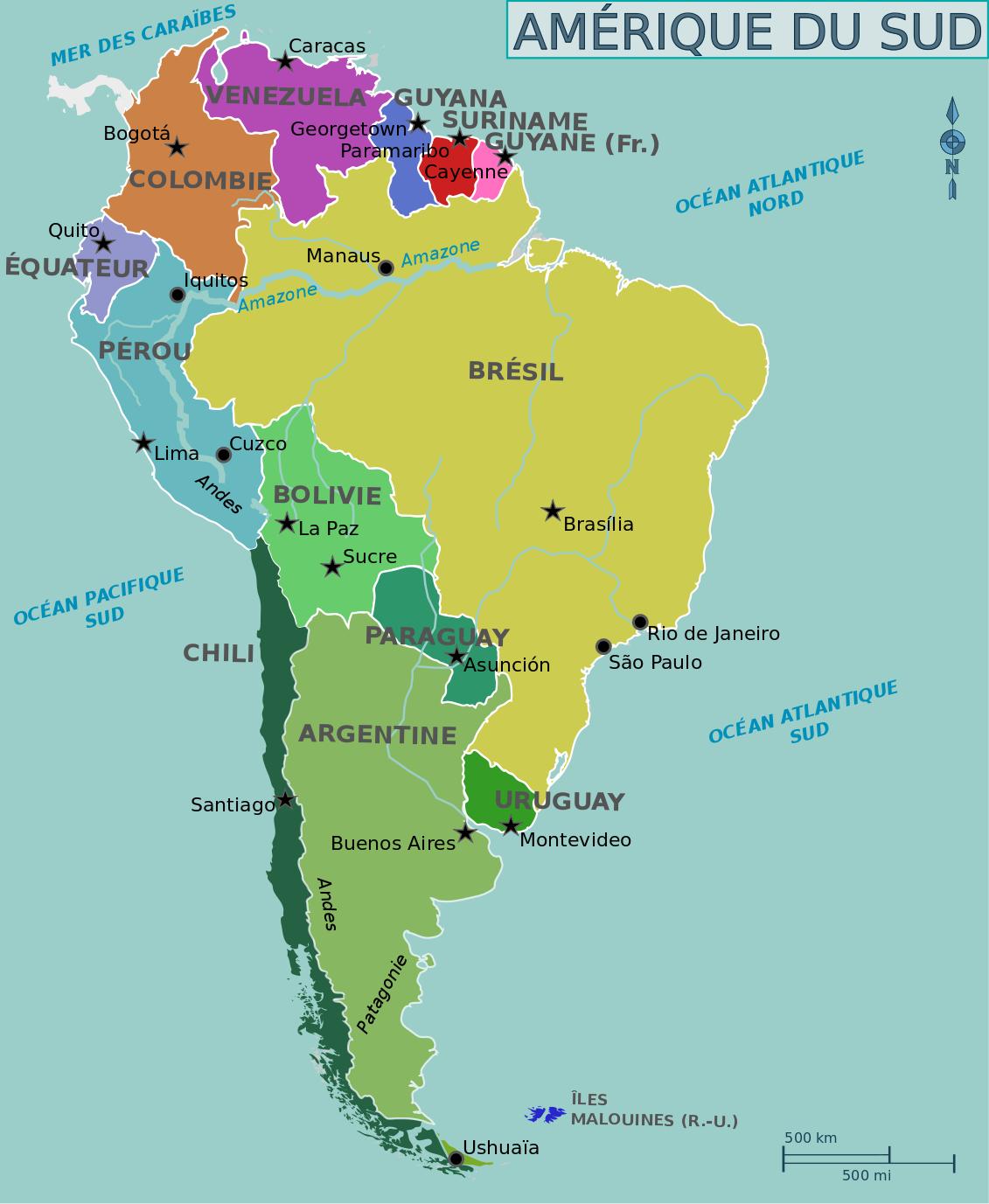 Amérique Du Sud — Wikivoyage, Le Guide De Voyage Et De serapportantà Pays Et Leurs Capitales