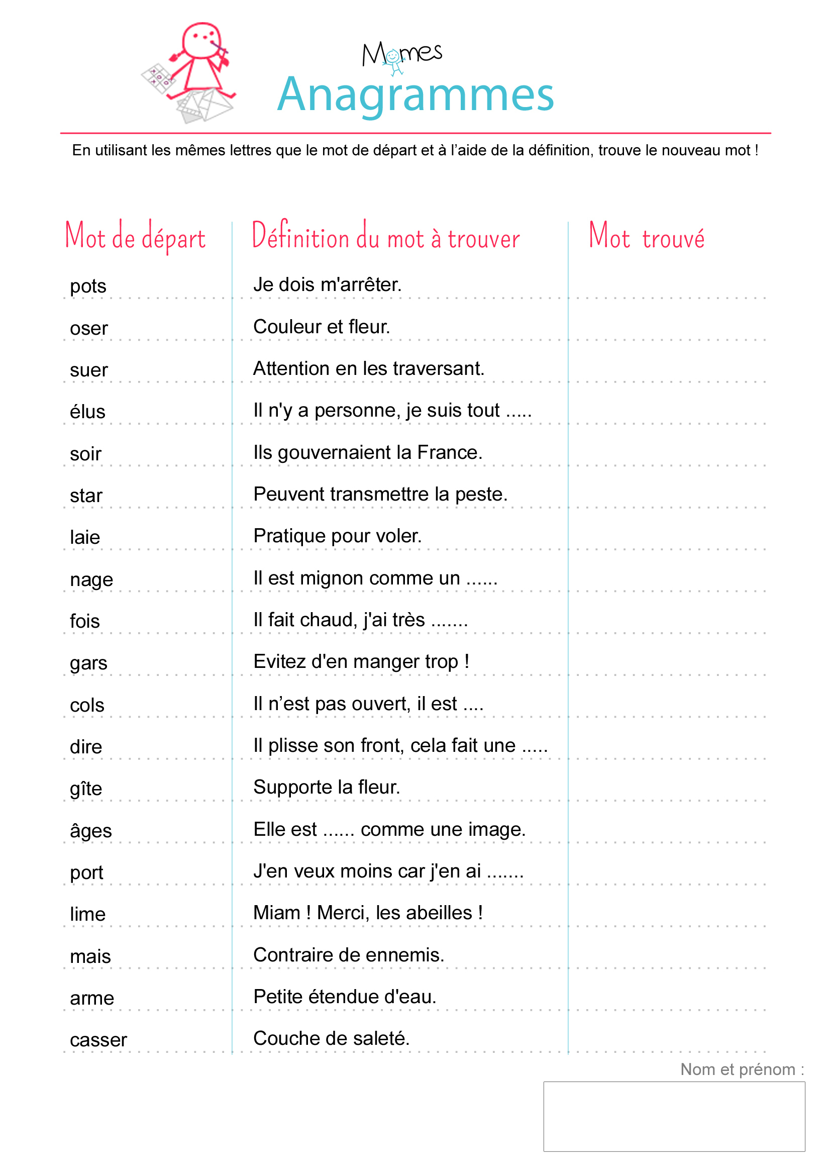Anagrammes : Exercice - Momes destiné Ecriture De Noel A Imprimer