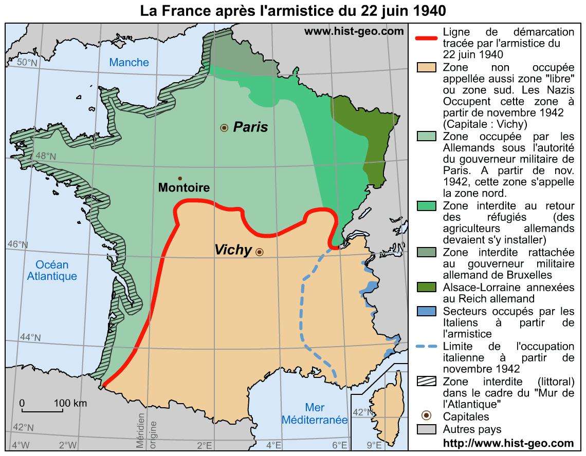Analyse De La Carte De France Après L'armistice Du 22 Juin 1940 destiné Petite Carte De France