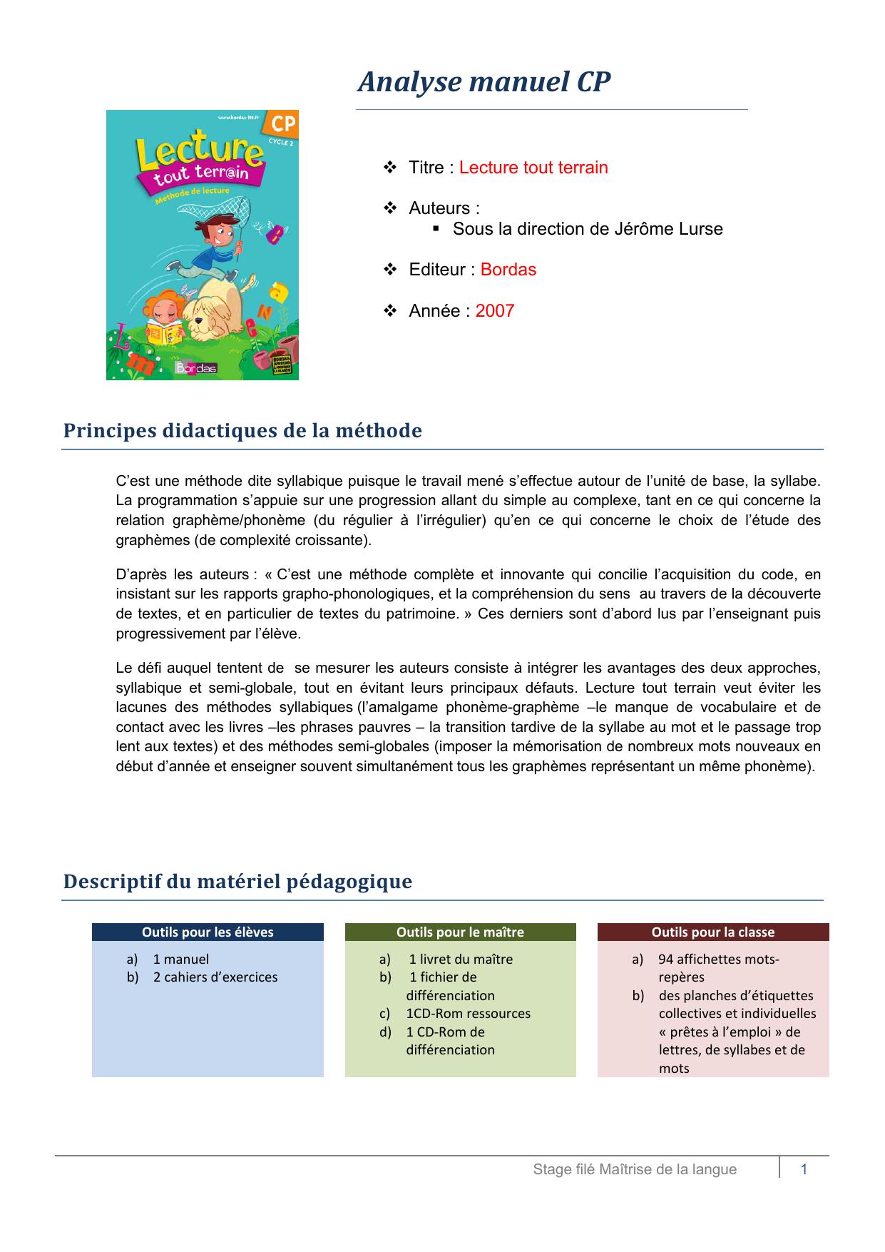 Analyse Manuel Cp - Méthode De Lecture Cp – Ce1 avec Activité Manuelle Pour Cp