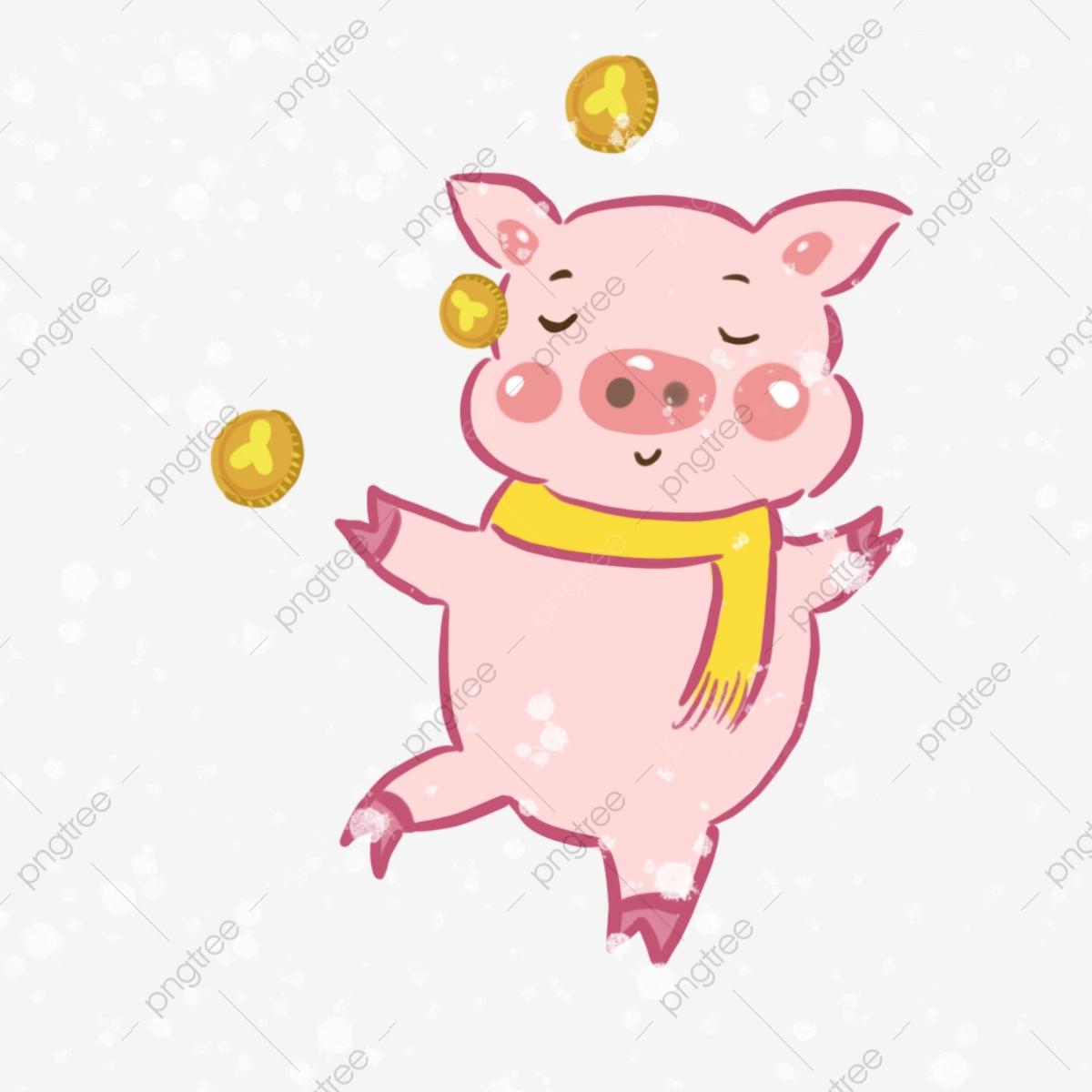 Année Du Cochon Cochon Pièce Dor Il Neige Cochon Dessin encequiconcerne Dessin De Cochon En Couleur