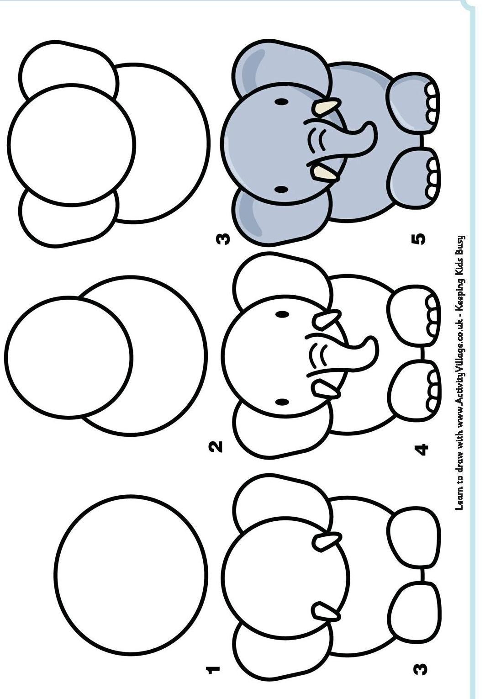 Apprendre À Dessiner En 2020 | Dessin Éléphant, Dessin pour Dessin Facile Pour Enfant