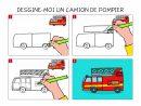 Apprendre À Dessiner Un Camion De Pompier En 3 Étapes intérieur Voiture Facile À Dessiner