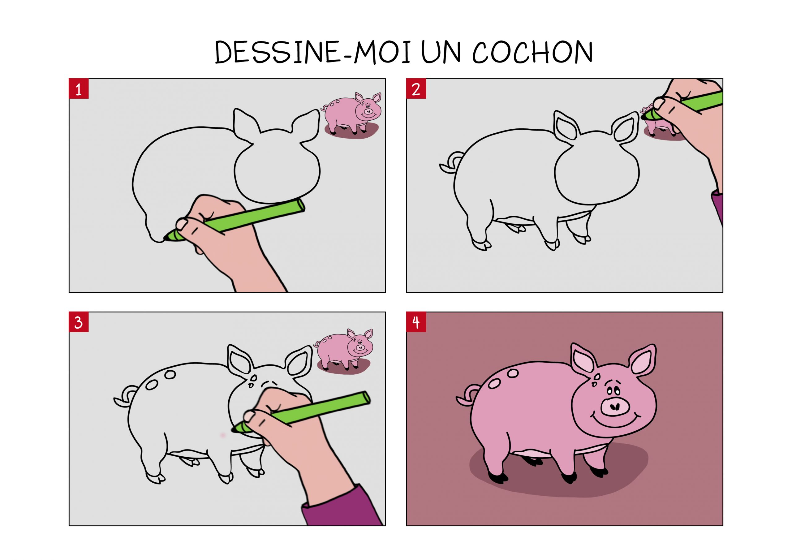 Apprendre À Dessiner Un Cochon En 3 Étapes avec Dessin De Cochon En Couleur
