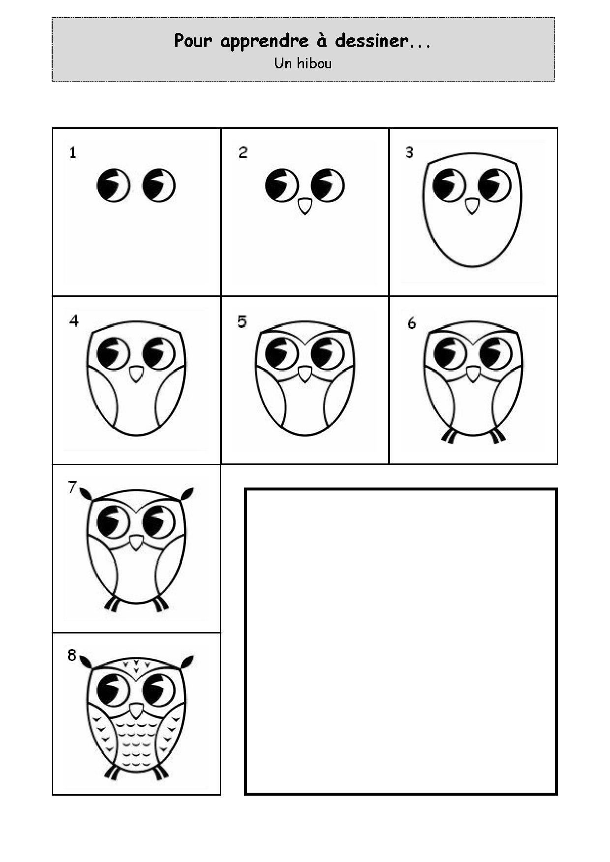 Apprendre À Dessiner Un Hibou destiné Apprendre À Dessiner En Maternelle