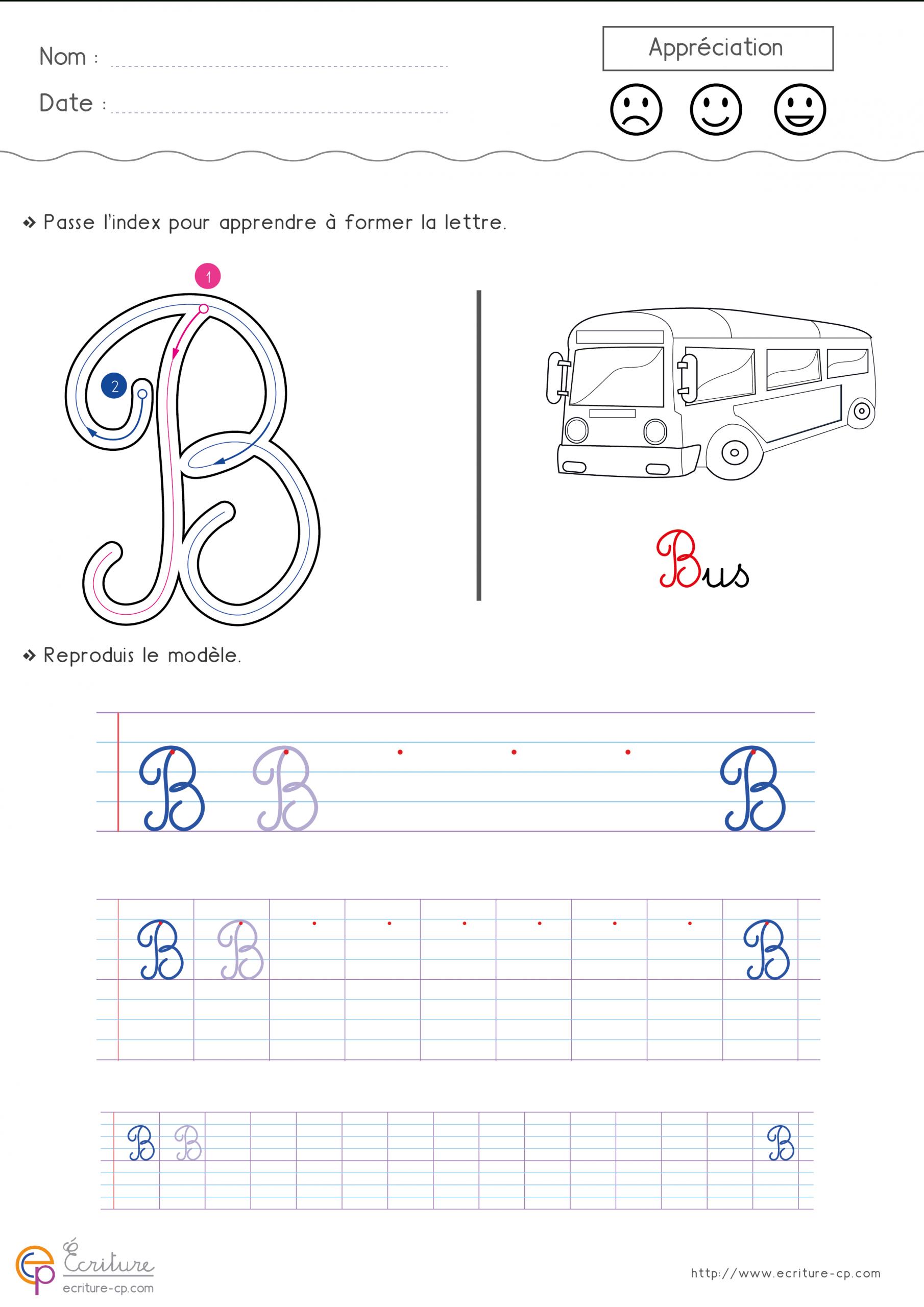 Apprendre À Écrire La Lettre B En Minuscule Et En Majuscule intérieur Fiche D Ecriture Pour Maternelle A Imprimer