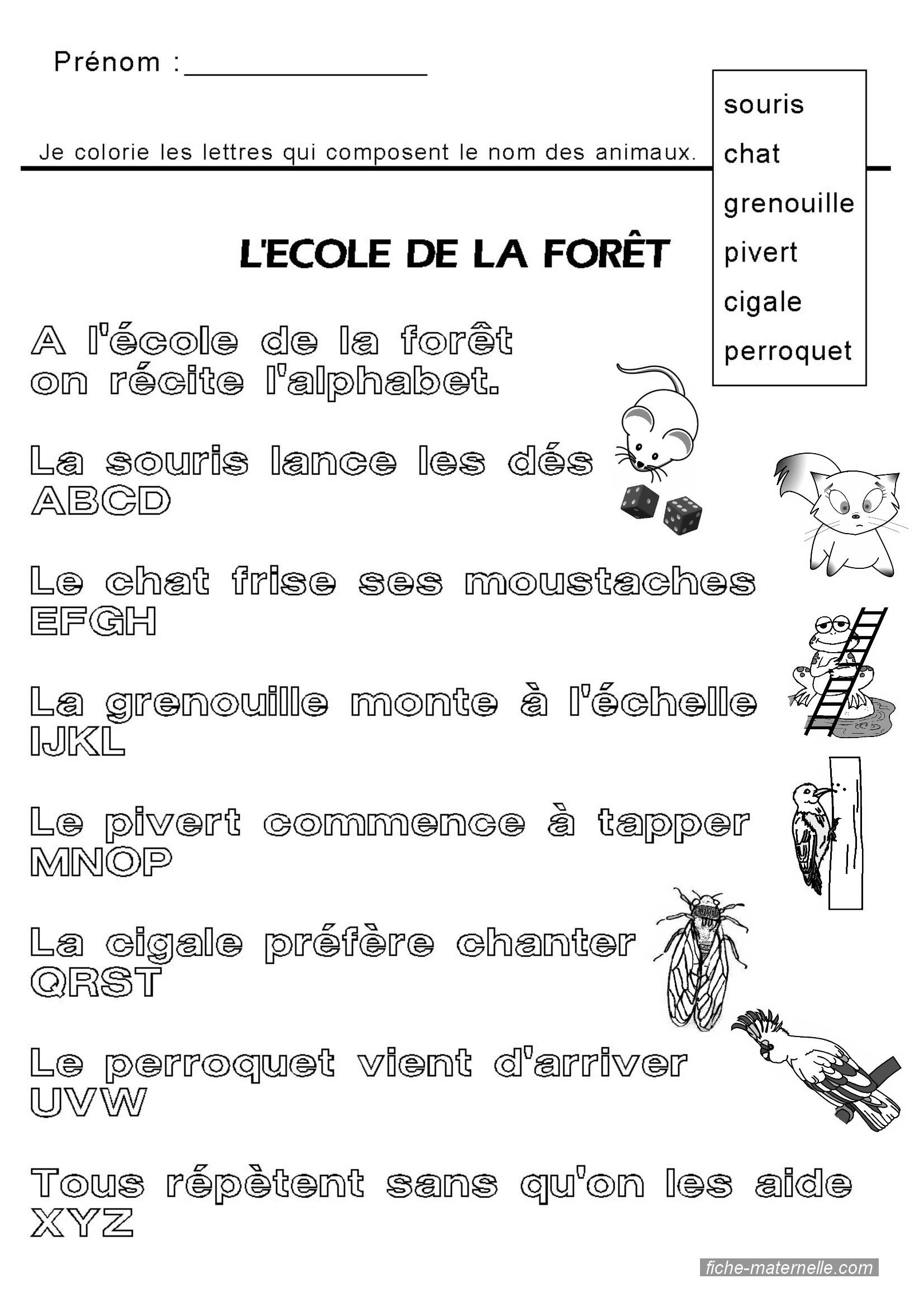 Apprendre À Lire : Comptine Alphabetique Gs Et Ms pour Animaux Foret Maternelle