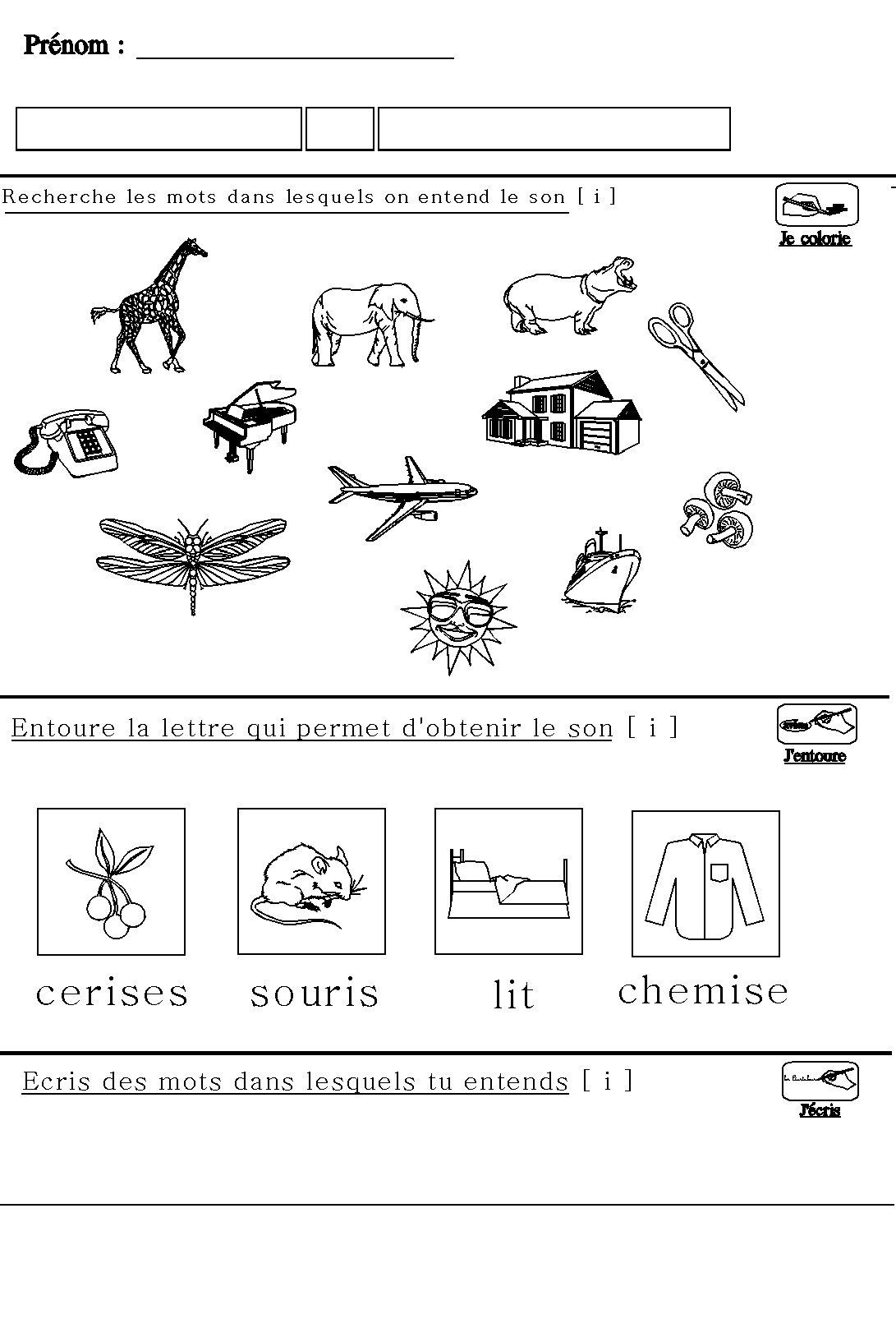 Apprendre À Lire En Maternelle : Le Son [I] Pour Maternelle avec Grand Section Exercice