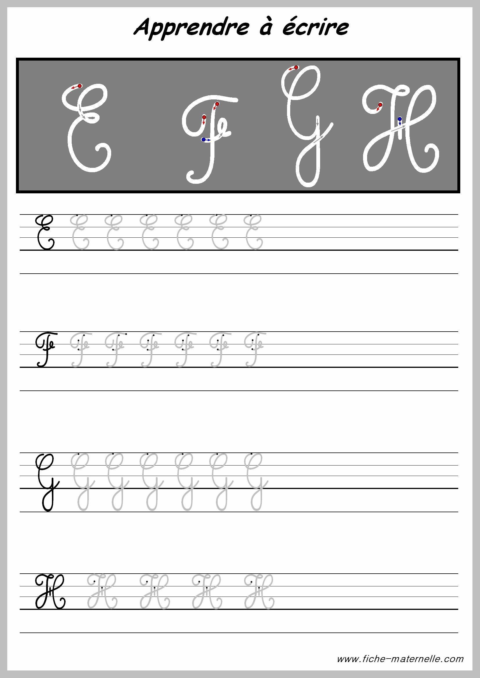 Apprendre À Tracer Les Lettres Majuscules | Majuscule Cursive avec Feuille Ligne Lettre