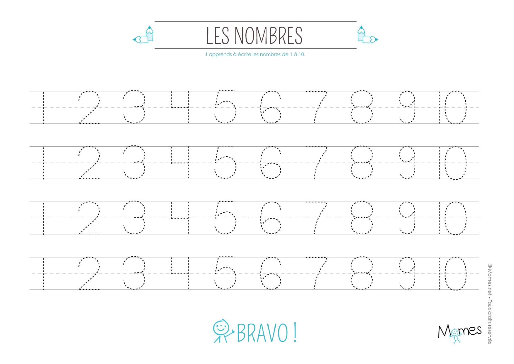 Apprendre À Tracer Les Nombres - Momes encequiconcerne Lettres En Pointillés À Imprimer