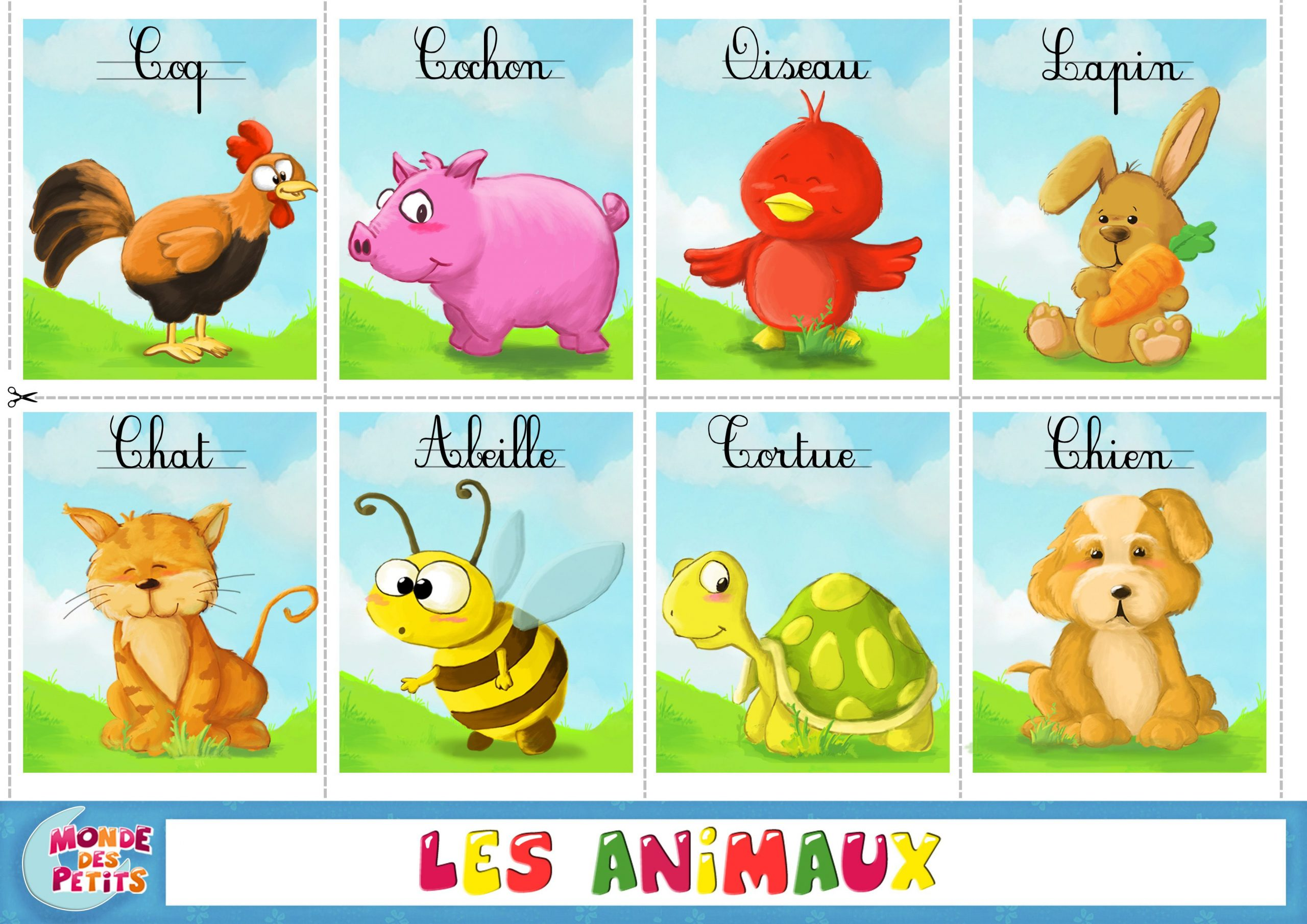 Apprendre-Animaux-Francais (3508×2480) | Animaux Anglais serapportantà Jeux De Fille Gratuit D Animaux