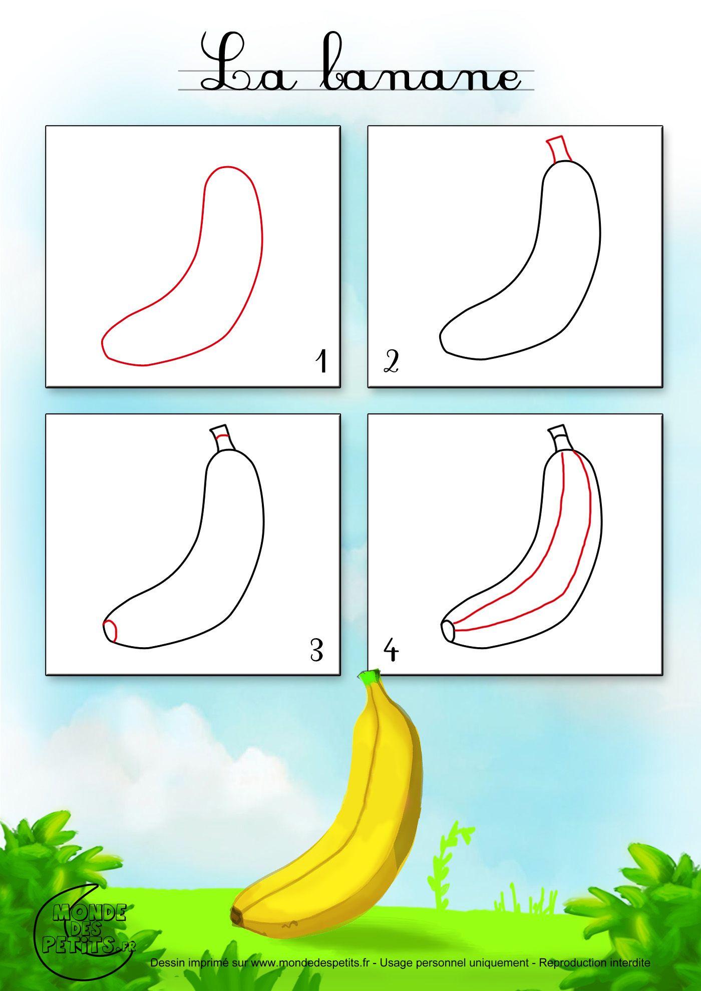Apprendre-Dessiner-Fruit-Banane (1400×1980) | Art tout Dessiner Une Banane