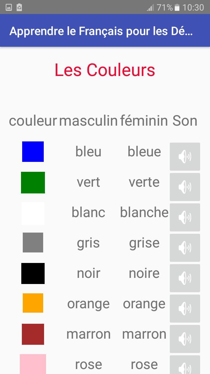 Apprendre Le Français Pour Les Débutants Pour Android serapportantà Apprendre Les Couleur En Francais