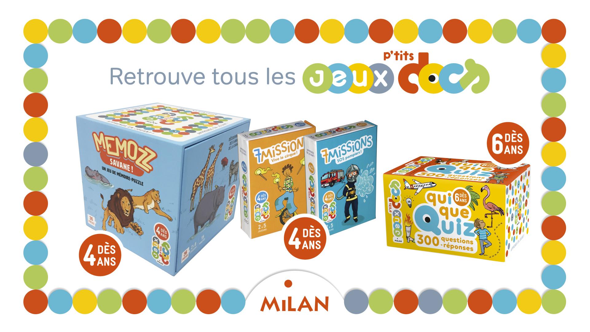 Apprends En Jouant Avec Les Jeux P'tits Docs ! - Editions Milan pour Jeux De Connaissance 3 4 Ans