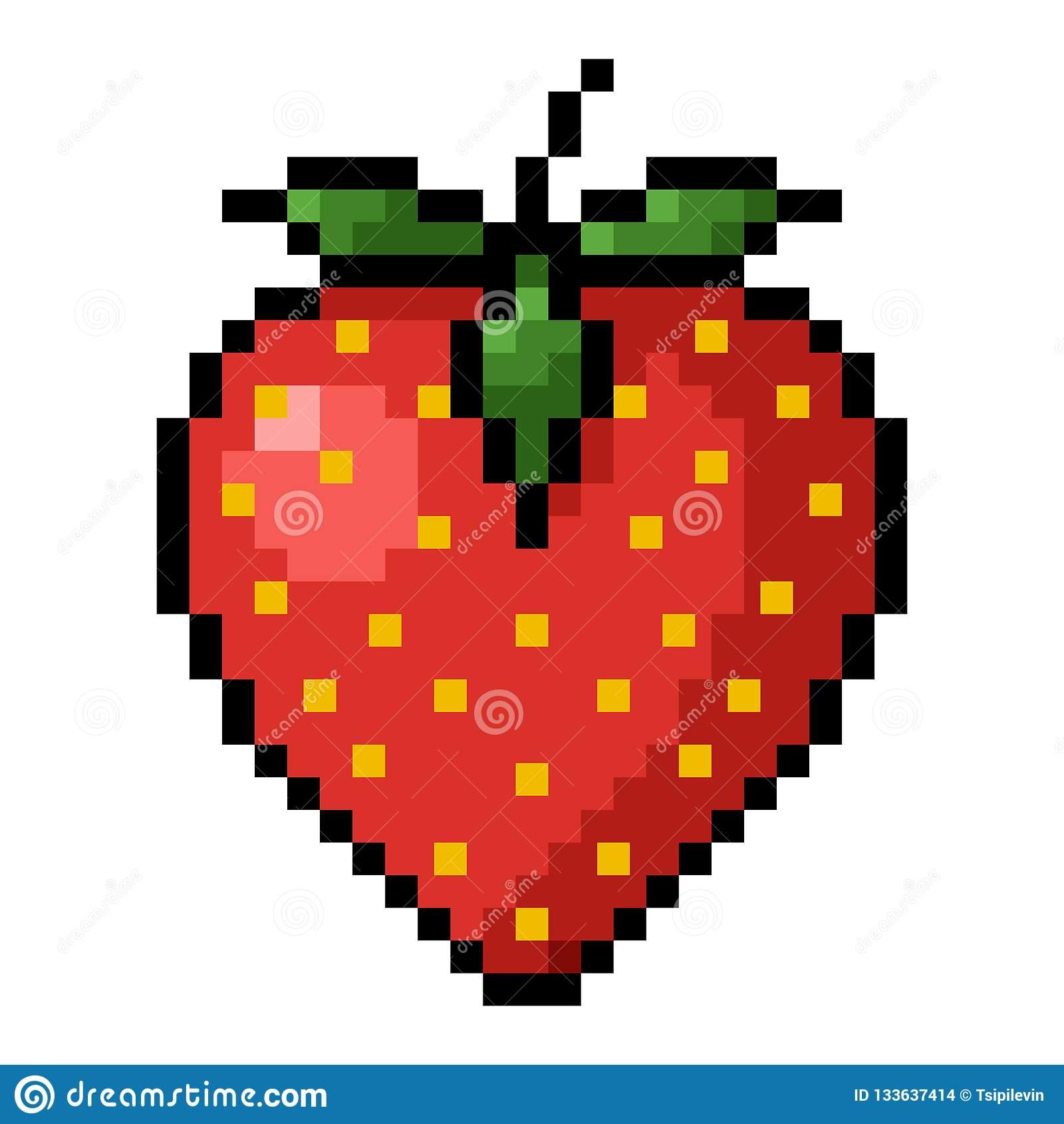 Art De Pixel De Fraise Illustration Stock. Illustration Du dedans Pixel Art Fraise