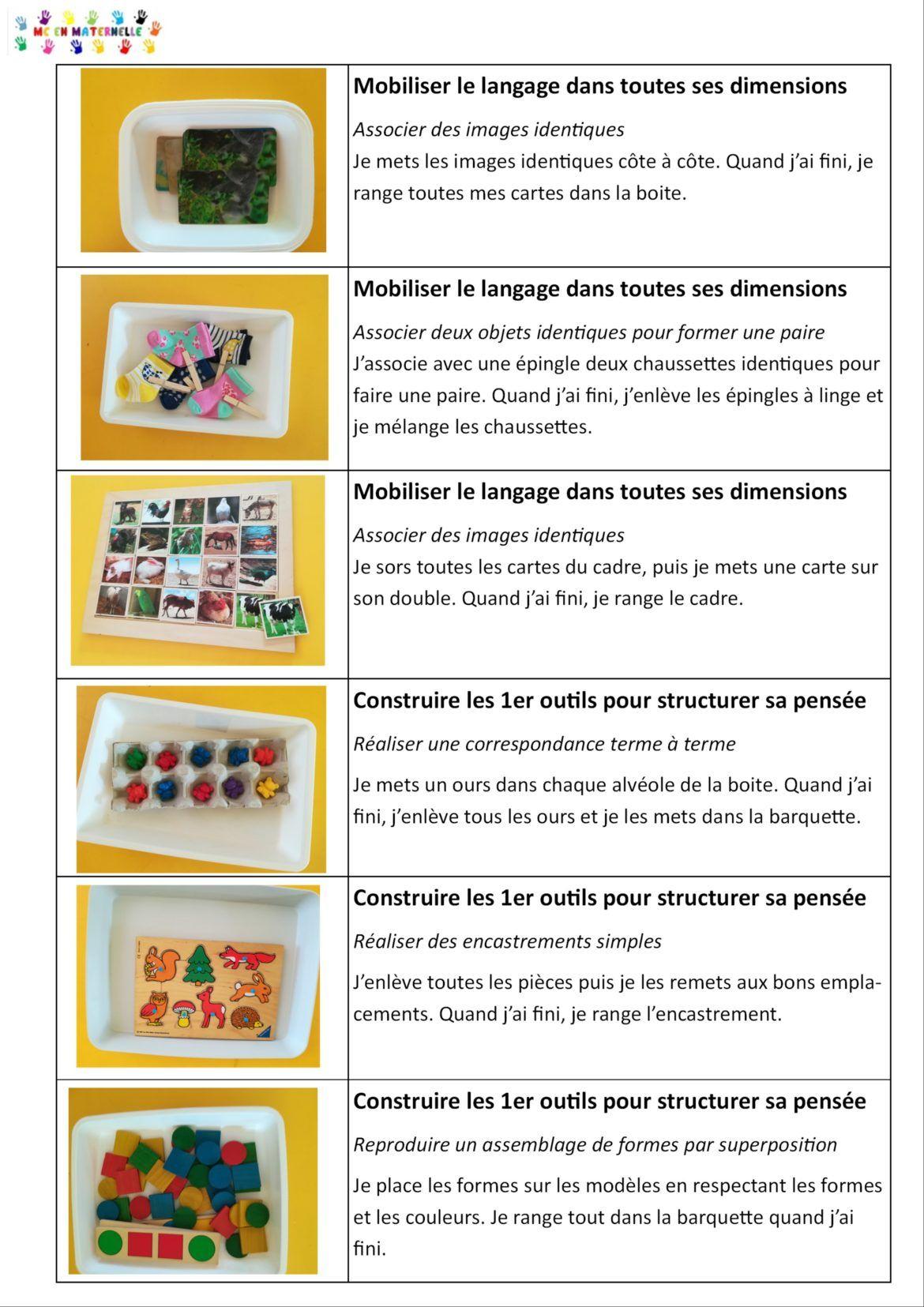 Ateliers Autonomes Période 1 Pour Les Petites Sections (Ps avec Boite À Forme Montessori