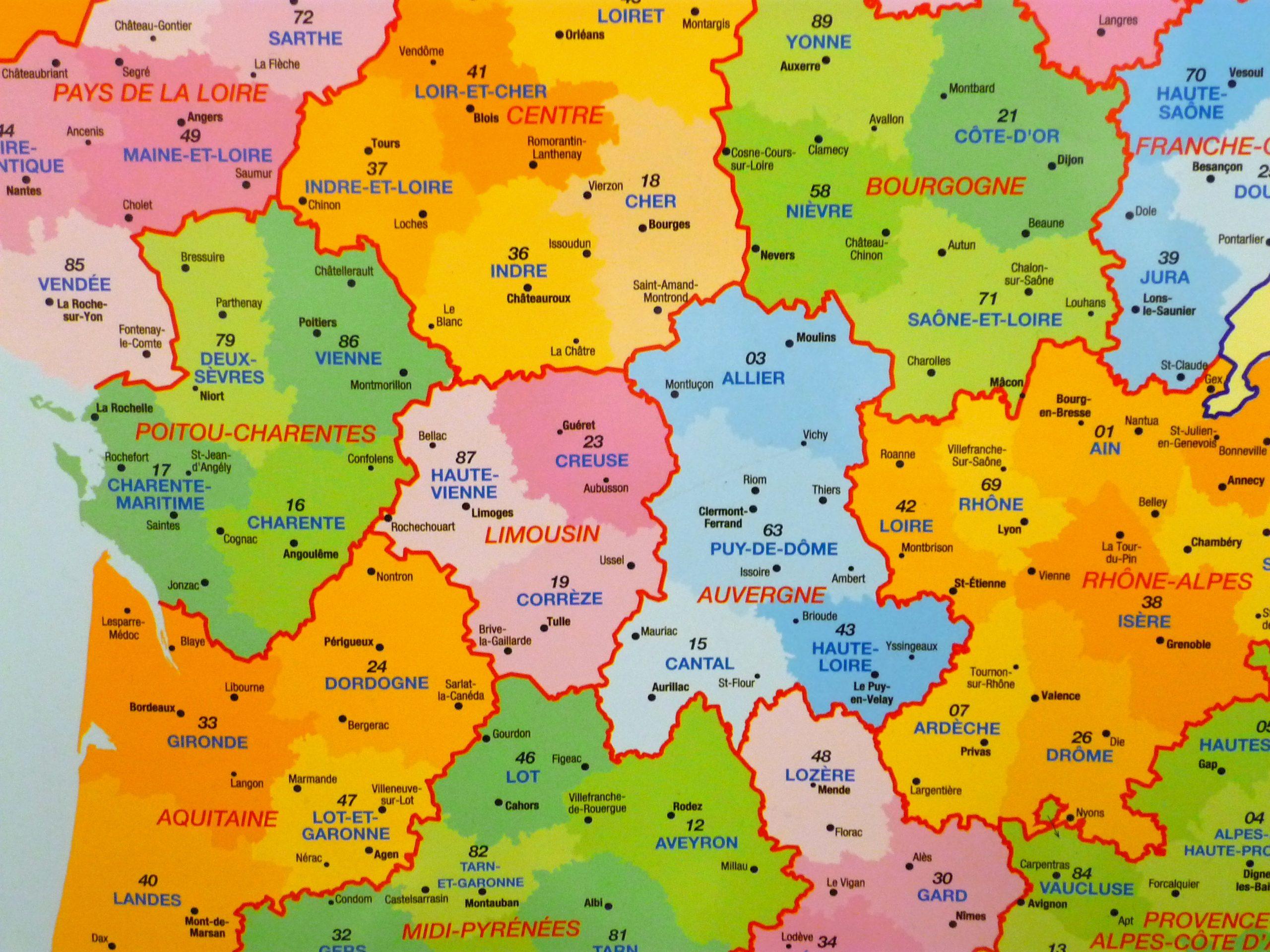 Au Sujet Des Départements Français | Un Français En Angleterre à Carte De France Avec Villes Et Départements