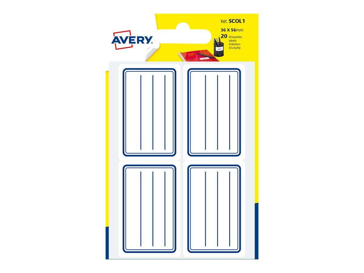 Avery - 20 Étiquettes Scolaires Graduées - 36 X 56Mm - Lignes Bleues tout Etiquette Scolaire Personnalisé Gratuit