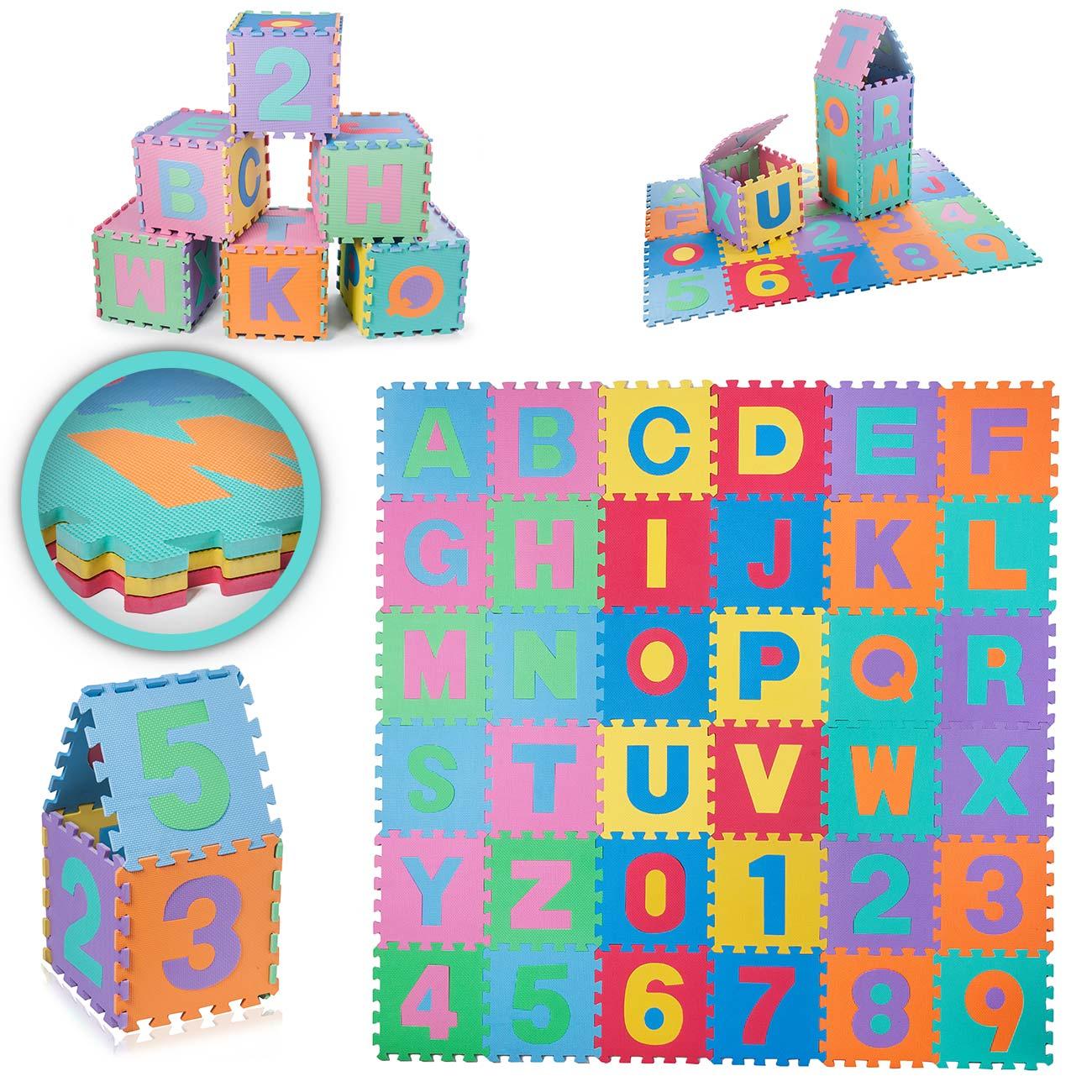 Baby Vivo Tapis De Jeu Puzzle En Mousse Eva Pour Enfants 190 X 190 Cm –  Avec Lettres Et Chiffres | Ma Trading concernant Jeux De Puzzle Enfant