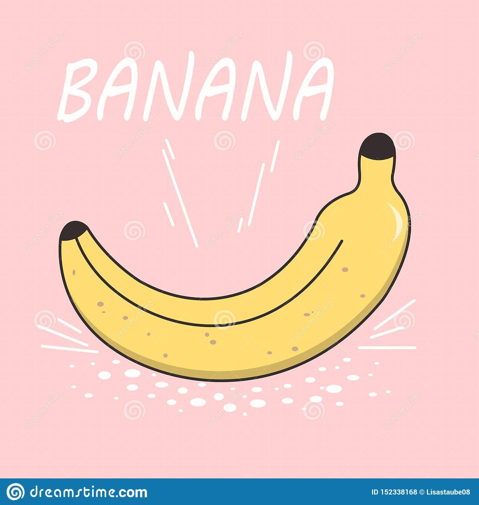 Banane Lumineuse De Dessin De Vecteur Sur Un Fond Rose Type destiné Dessiner Une Banane