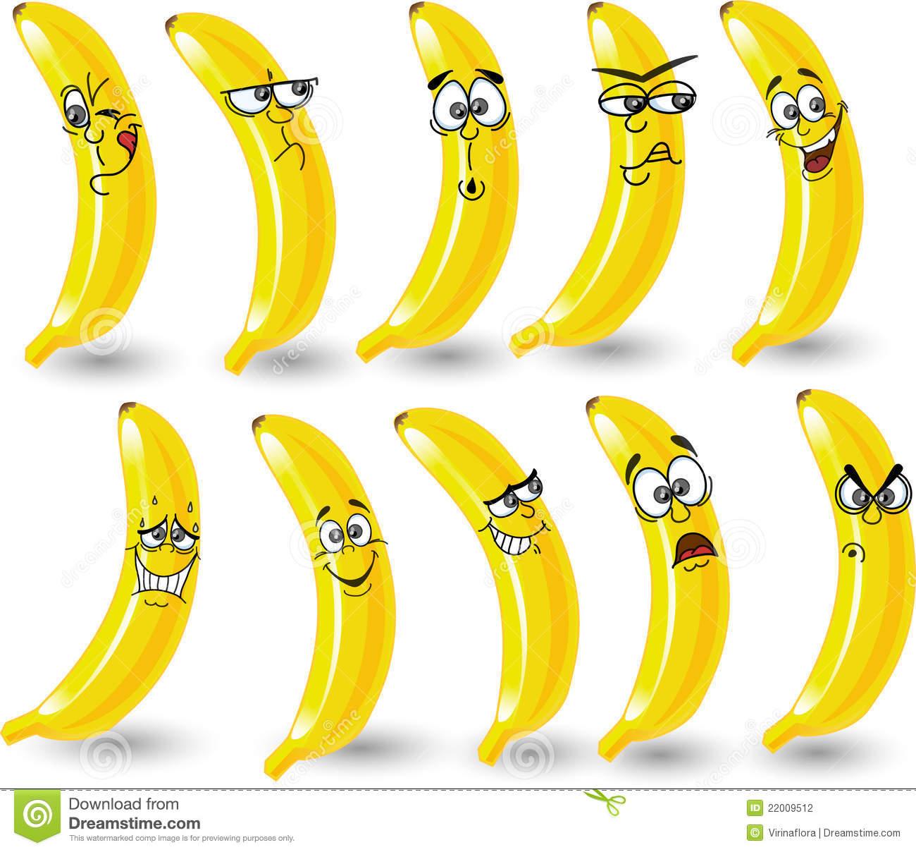 Bananes De Dessin Animé Avec Des Émotions, Vecteur encequiconcerne Dessiner Une Banane