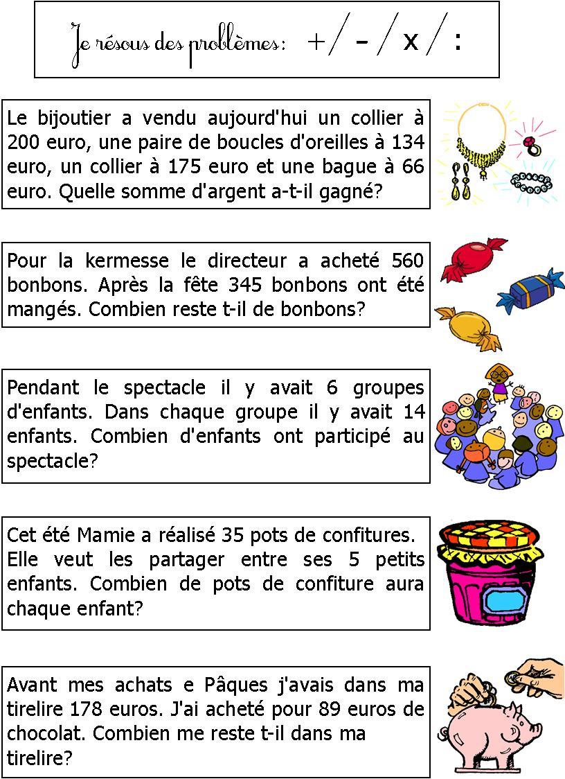 Banque De Problèmes Ce1 | Le Blog De Monsieur Mathieu destiné Exercice Problème Ce1