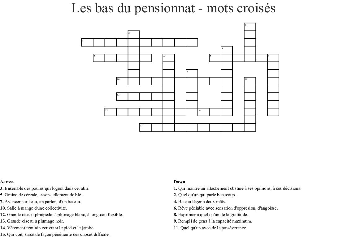 Bas Du Pensionnat Mots Croisés Crossword - Wordmint dedans Grand Ensemble Mots Croisés