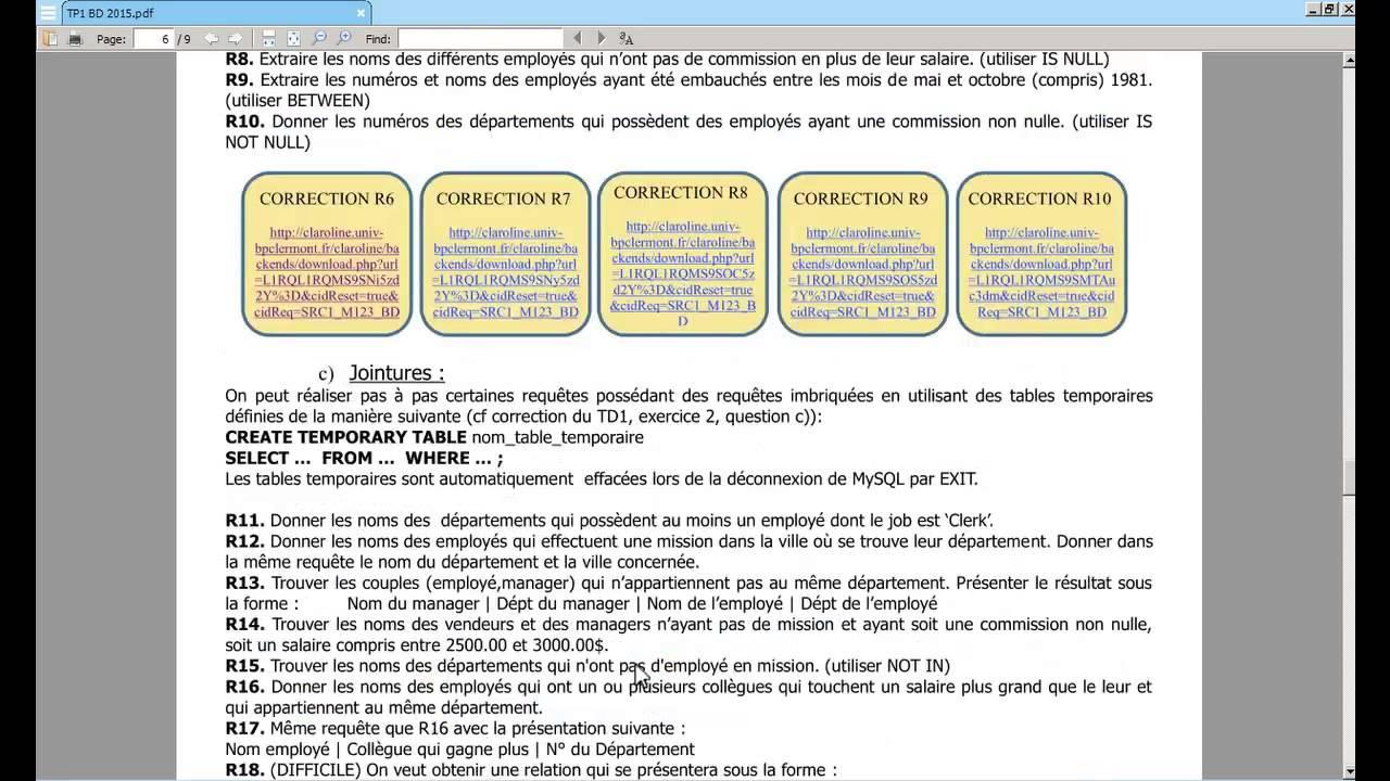 Bd Tp 1 07 Requêtes D'interrogation tout Les Numéros Des Départements
