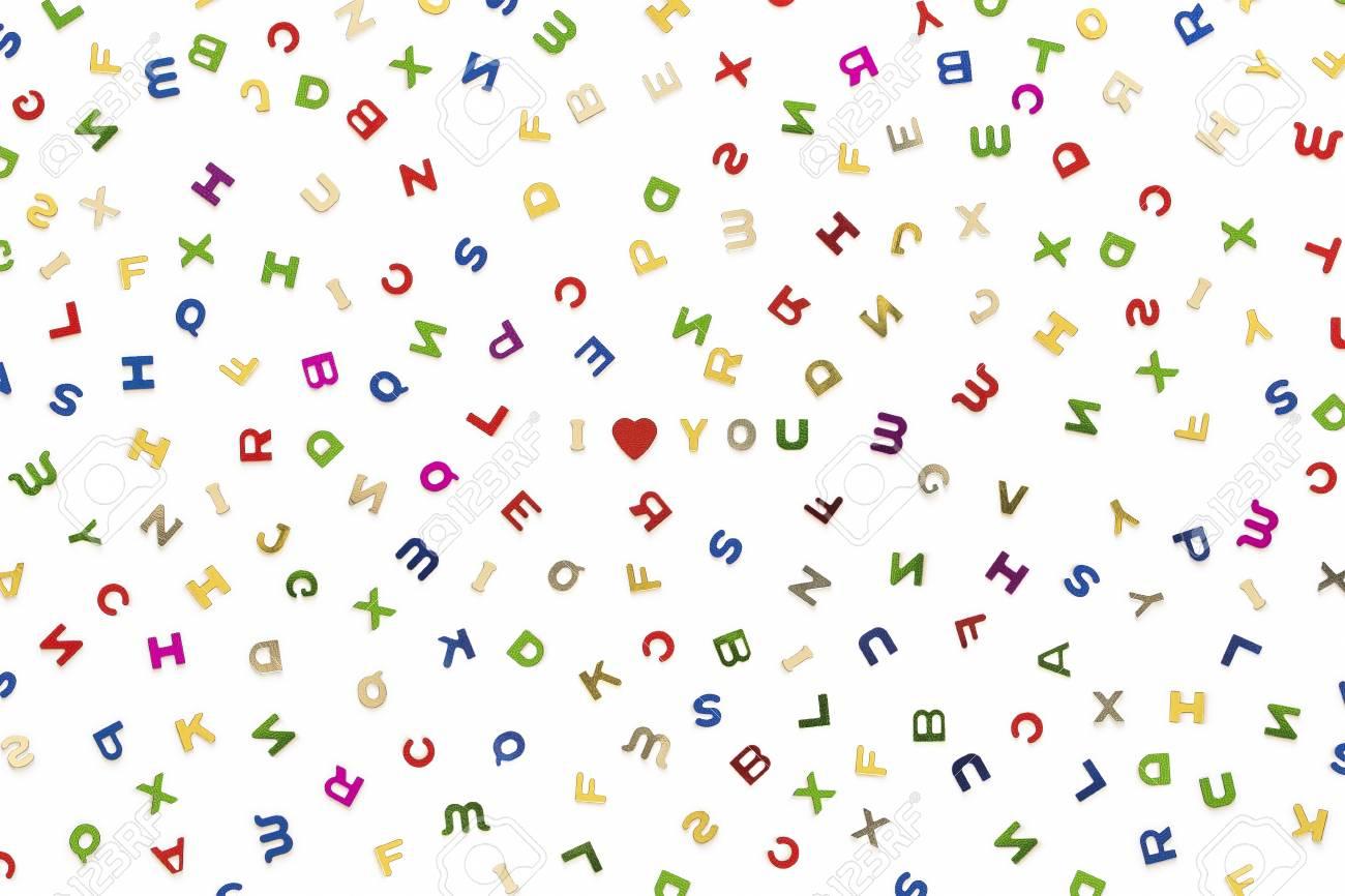 Beaucoup De Lettres De Différentes Couleurs Mélangées, Avec Je T'aime Dans  Le Centre dedans Mot Avec Lettres Mélangées