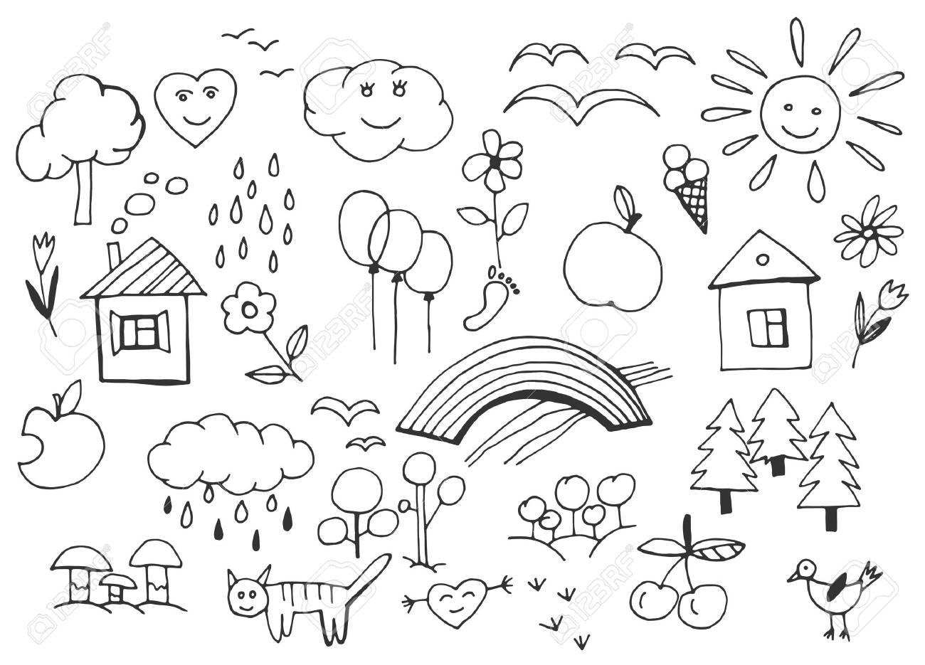 Belles Dessins D'enfants Modèle En Couleur Noire. Editable Illustration  Vectorielle Sur Un Fond Blanc. Jeu De Griffonnage Drôle D'objets Simples De  La encequiconcerne Modele Dessin Enfant