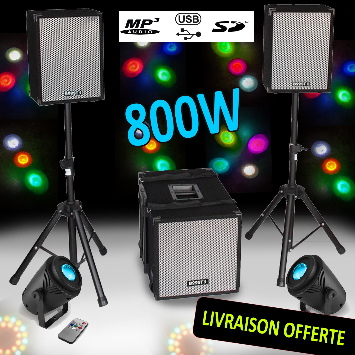 Bi-Amplified Mp3 800W Subwoofer + 2 Satellites + 1 208 Feet Boost à Jeux Flash A 2