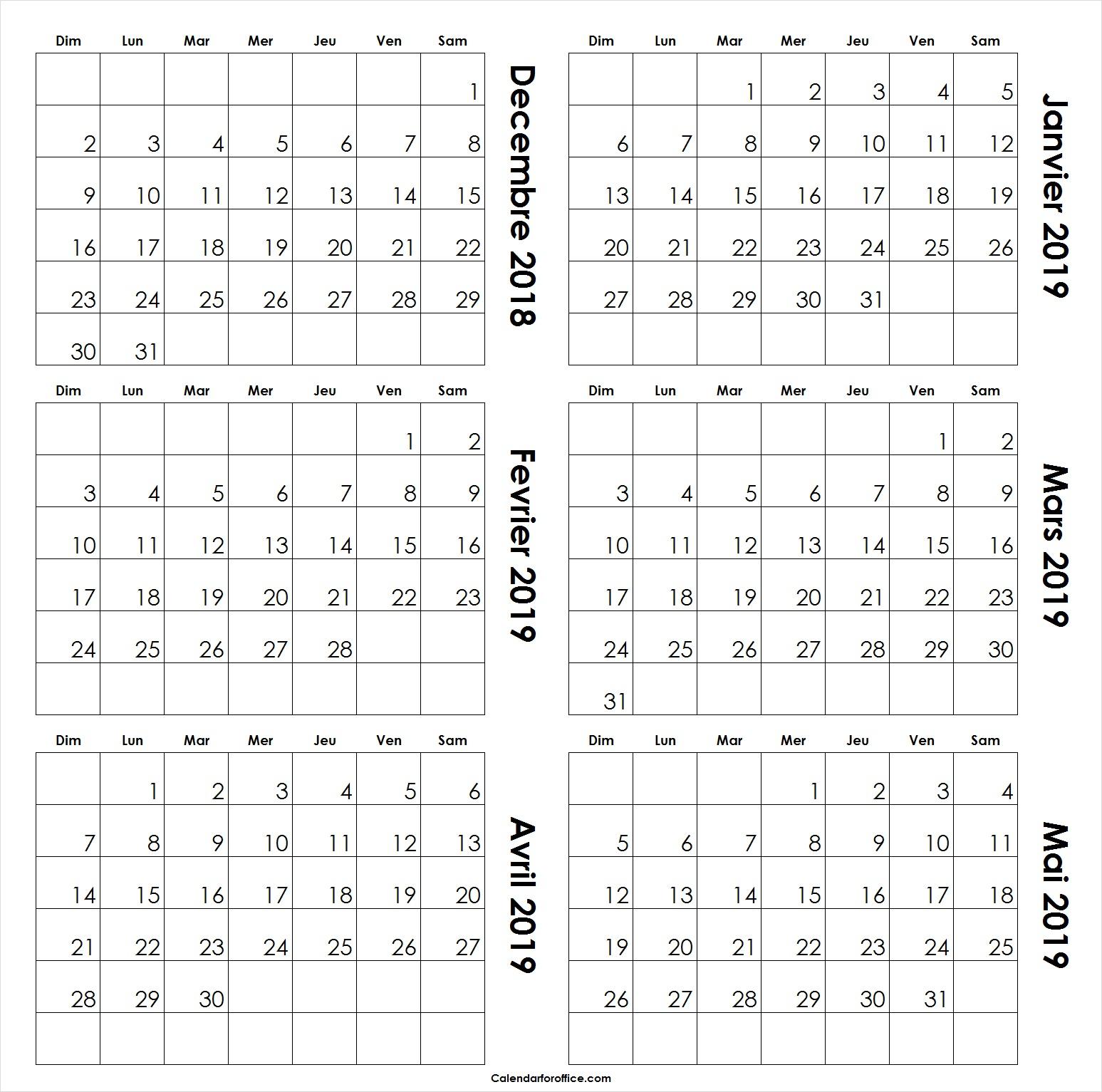 Blanc Decembre 2018 A Mai 2019 Calendrier Modèle De Mensuel pour Calendrier A Imprimer 2018