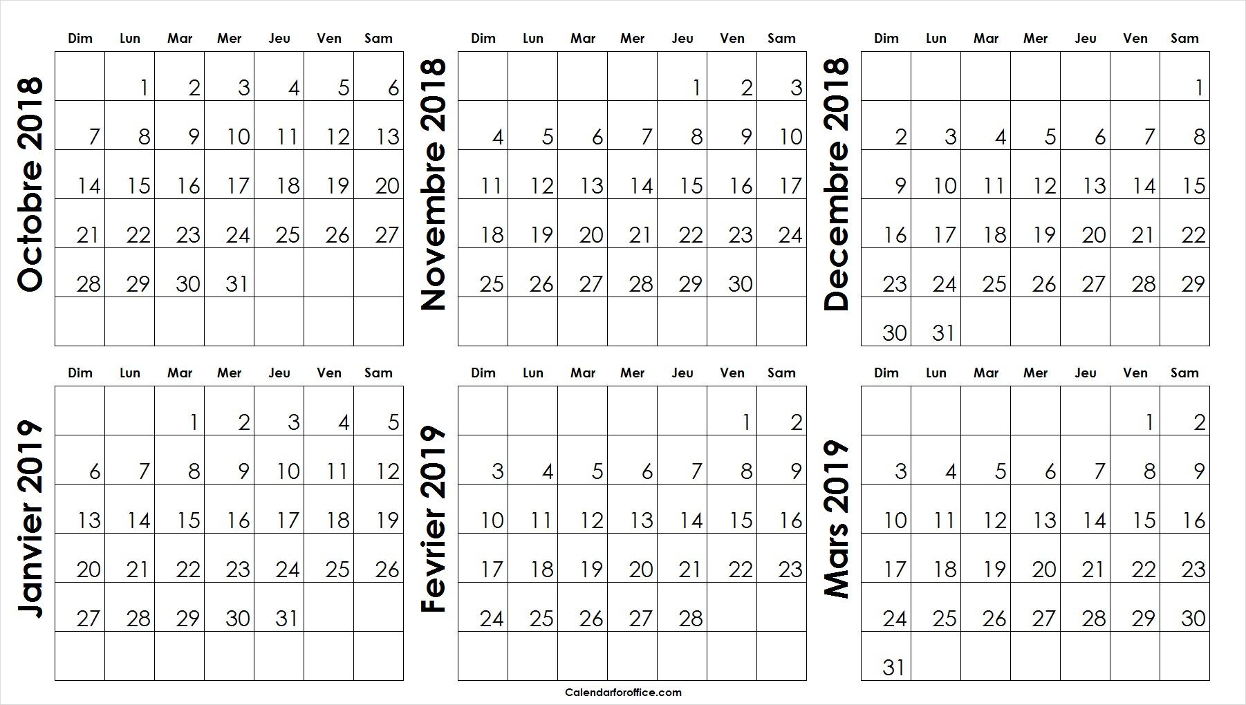 Blanc Octobre 2018 A Mars 2019 Calendrier Modèle De Mensuel destiné Calendrier Mars 2018 À Imprimer