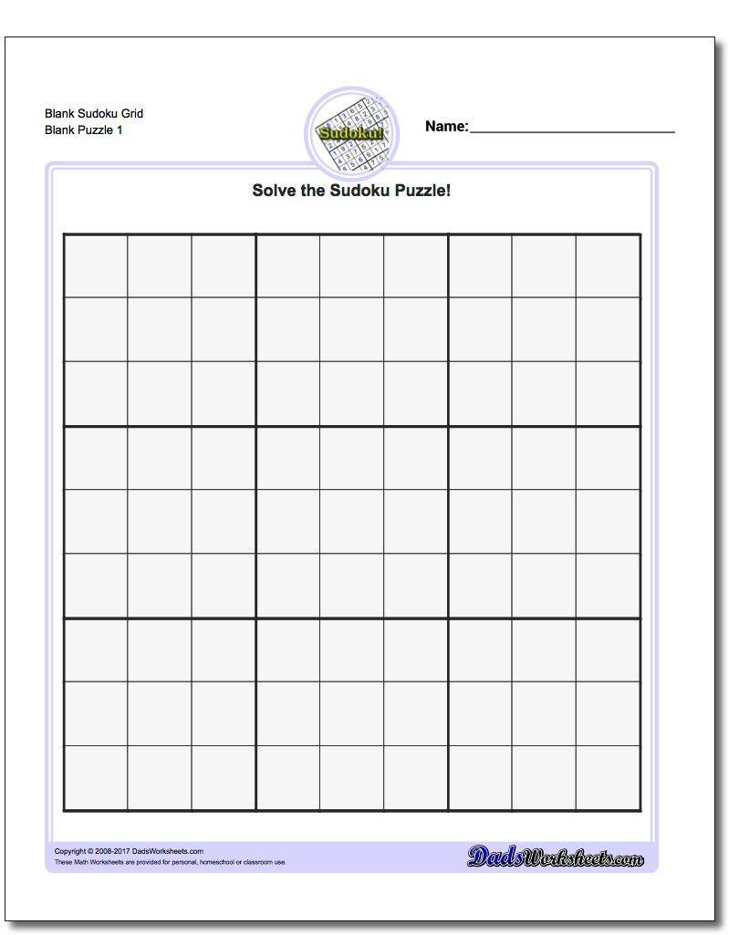 Blank Sudoku Grid | Sudoku Puzzles, Math Worksheets, Free concernant Sudoku Grande Section