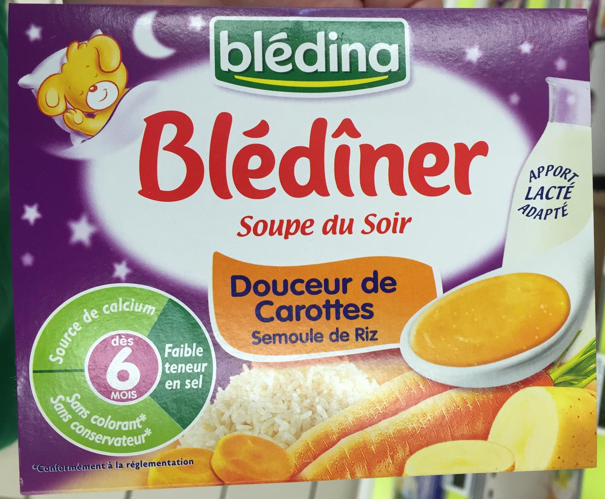 Blédîner Soupe Du Soir Douceur De Carottes Semoule De Riz encequiconcerne Brique Pour Bebe