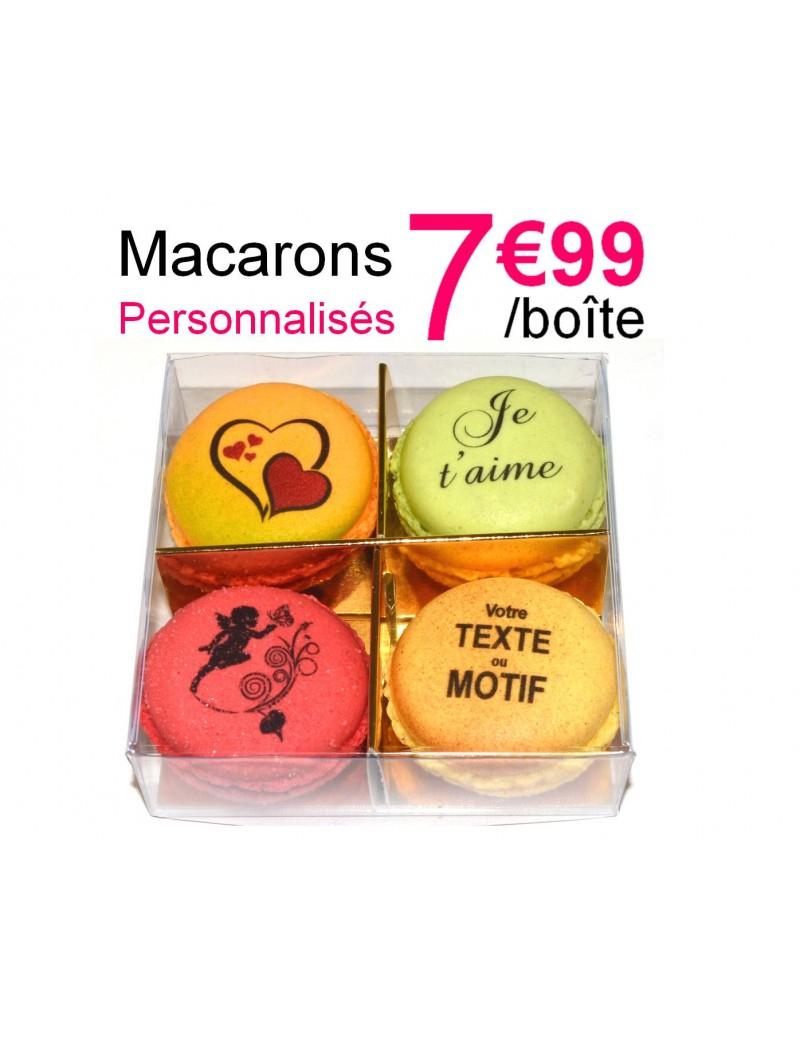 Boîte 4 Macarons À Personnaliser pour Boite À Personnaliser