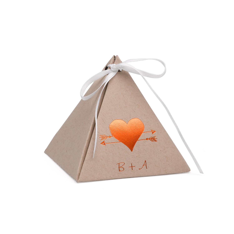 Boîte De Faveur Pyramide -Kraft - À Personnaliser ( Paquet De 25 ) ( Plus  De 100 Choix De Motifs Possibles ) pour Boite À Personnaliser