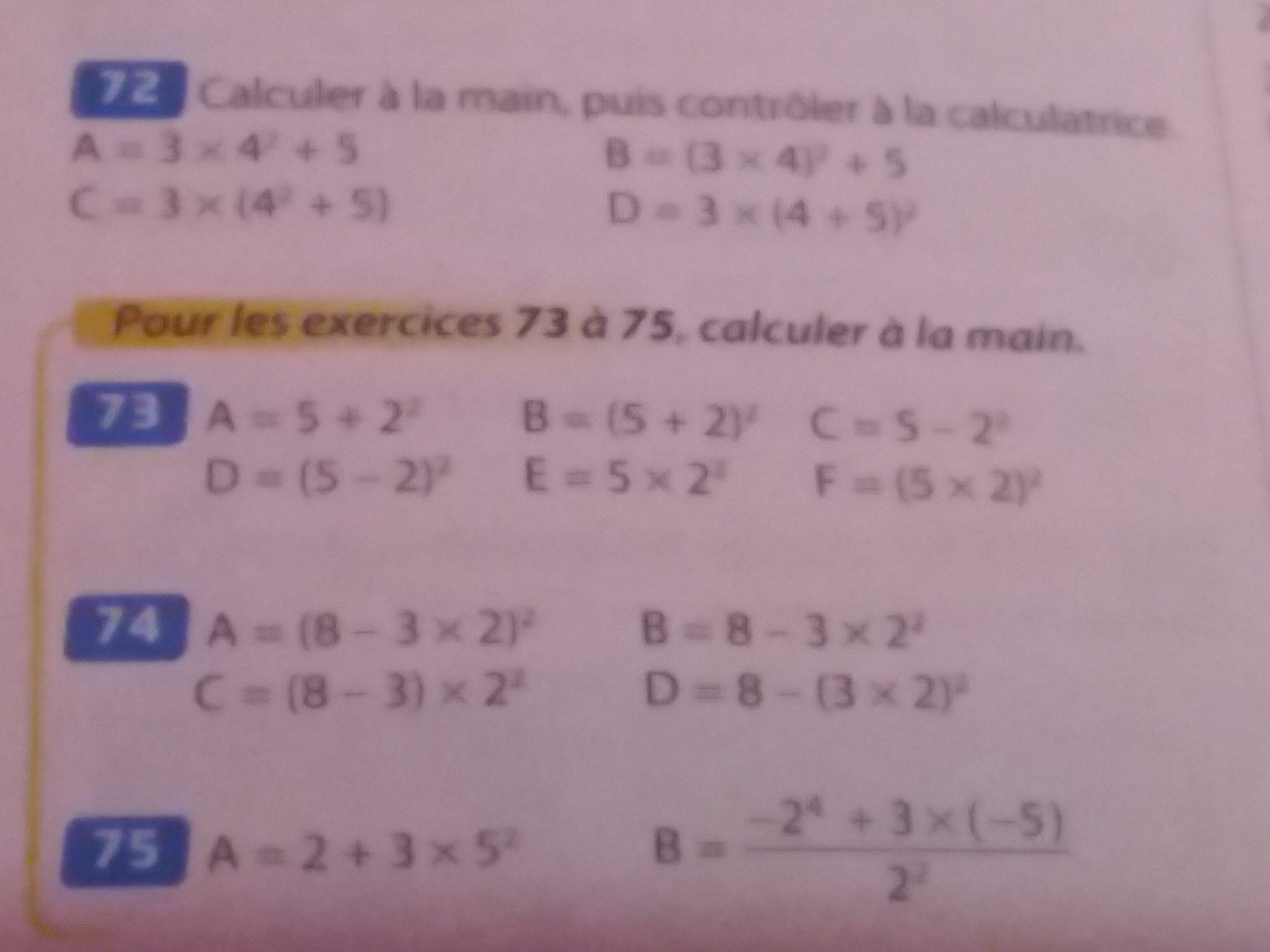 Bonjoir,j'ai 2 Exercices De Maths À Faire Mais Je Comprends encequiconcerne Exercice De Math Sur Les Puissances
