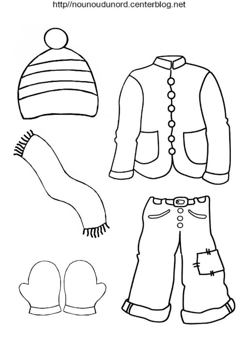 Bonnet Écharpe Gants Veste Pantalon À Colorier (Hiver) dedans Coloriage Hiver Maternelle